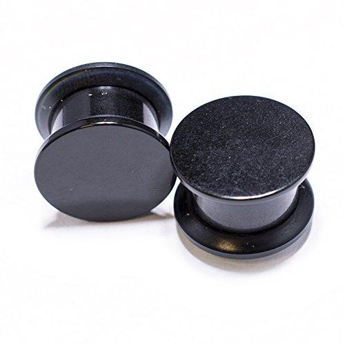 Black Acrylic Double Flat Flare Plug